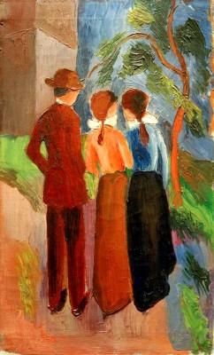 Spaziergang zu dritt - August Macke