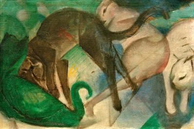 Spielende Katzen (Katzenbild) - Franz Marc
