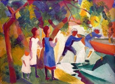 Spielende Kinder am Wasser - August Macke