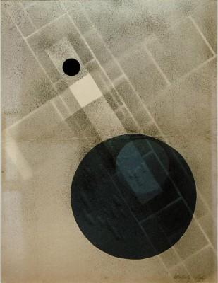 Spray paint with blue disc - László Moholy-Nagy