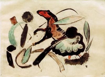 Springendes Pferd mit pflanzlichen Formen - Franz Marc