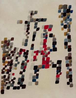 Square spots reminiscent of a group of characters - Sophie Taeuber-Arp