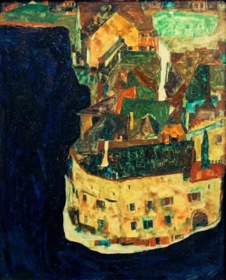 Stadt am Blauen Fluß II - Egon Schiele