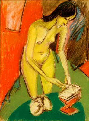 Standing female nude at the table - Ernst Ludwig Kirchner