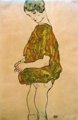 Stehende mit gefalteten Händen - Egon Schiele