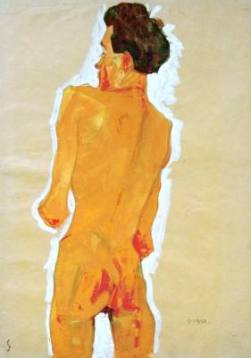 Stehender männlicher Rückenakt - Egon Schiele