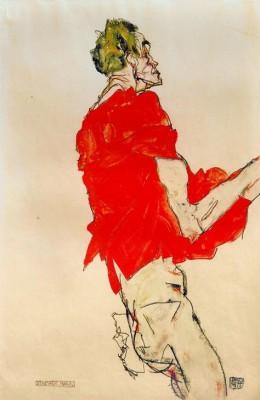 Stehender Mann mit rotem Tuch - Egon Schiele