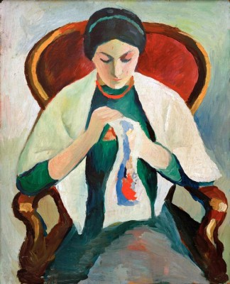 Stickende Frau am Sessel Porträt der Frau des Künstlers - August Macke