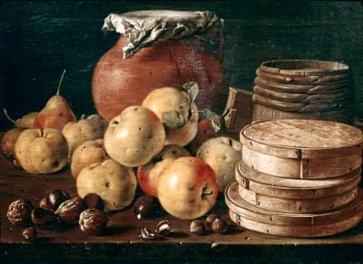 Still life showing apples, walnuts and mug - Luis Meléndez