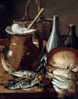 Still life showing fishes, bread and onions - Luis Meléndez