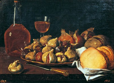 Still life showing plate of figs, pomegranates, bread and wine - Luis Meléndez