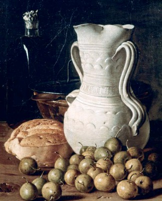 Still life showing plums and bread - Luis Meléndez