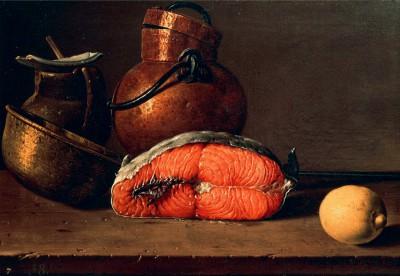 Still life showing salmon, lemon and three vases - Luis Meléndez