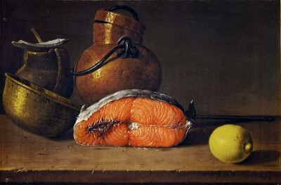 Still-life with a piece of salmon, a lemon and three vessels - Luis Meléndez