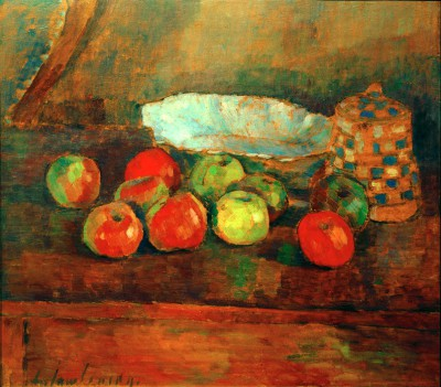 Still life with apples, blue bowl and jug - Aleksiej Jawlensky