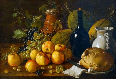 Still life with Apples, Grapes, Melons, Bread, Jug and Bottle - Luis Meléndez