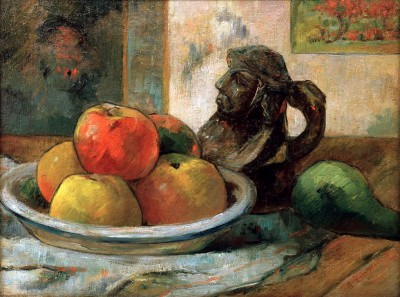 Still Life With Apples Pear And Ceramic Portrait Jug - Paul Gauguin