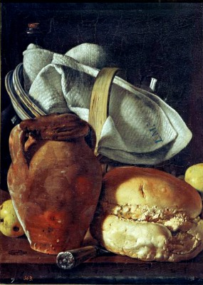 Still life with bread, pitcher and basket - Luis Meléndez