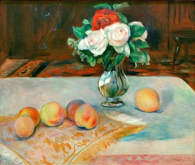 Still life with bunch of flowers and peaches - Pierre Renoir
