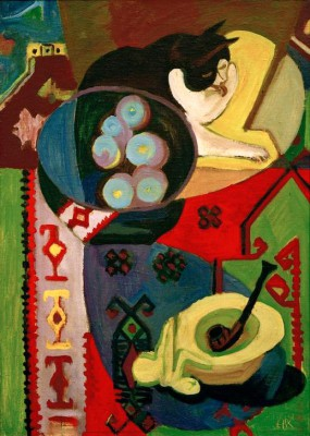 Still life with cat and pipe - Ernst Ludwig Kirchner