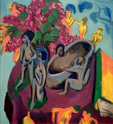 Still life with sculptures and flowers - Ernst Ludwig Kirchner