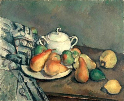 Still life with sugar bowl, apples and cloth - Paul Cézanne