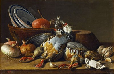 Still-life with two partridges, onions and kitchenware - Luis Meléndez