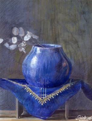 Stillleben eines Silberblattes in blauer Vase - Egon Schiele