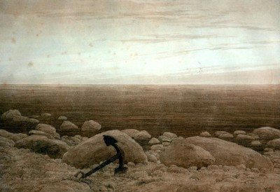 Stony beach with anchor and crescent moon - Caspar David Friedrich