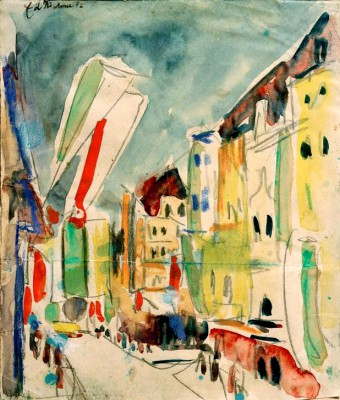 Street scene with flags - Ernst Ludwig Kirchner