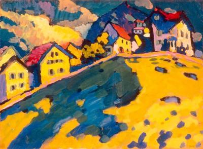 Studie für Häuser am Hügel - Wassily Kandinsky
