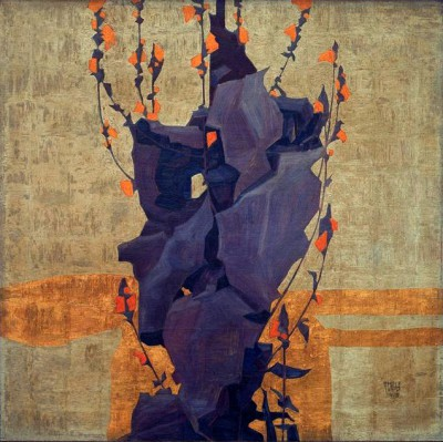Stylized flowers in front of decorative background - Egon Schiele