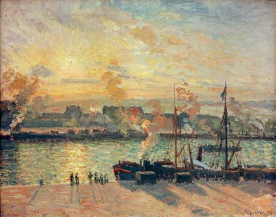 Sunset, the Port of Rouen Steamboats - Camille Pissarro