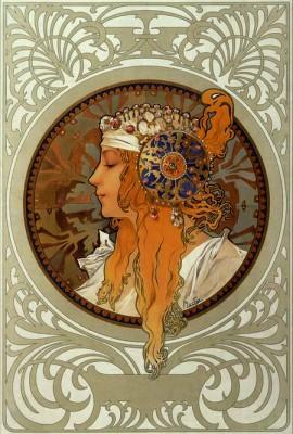 Tête byzantine Blonde - Alfons Mucha