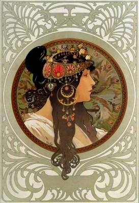 Tête byzantine Brunette - Alfons Mucha