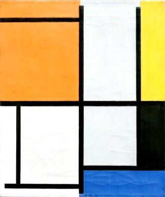 Tableau 3 mit Orange, Gelb, Schwarz, Blau und Grau - Piet Mondrian