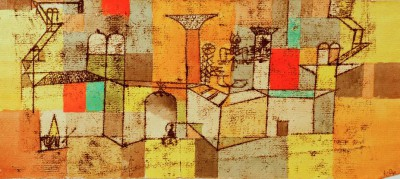 Temple with red and green squares - Paul Klee