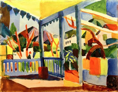 Terrasse des Landhauses in St. Germain - August Macke