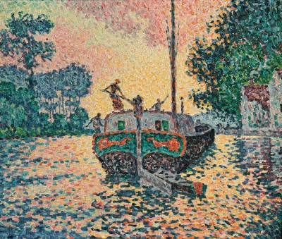The barge, Samois - Paul Signac