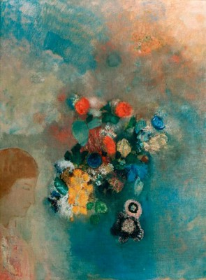 The dream or the thought - Flowers and profile - Odilon Redon
