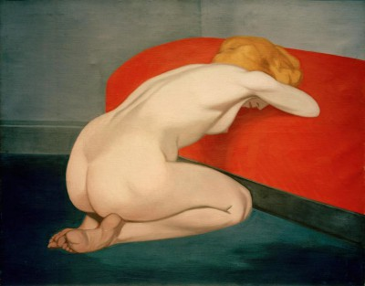 The female nude in front of a red sofa - Félix Vallotton