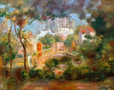 The gardens of Montmartre with view of Sacre-Coeur under construction - Pierre Renoir
