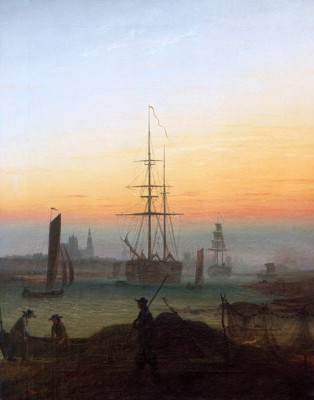 The harbour of Greifswald - Caspar David Friedrich