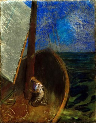 The holy woman in a bark - Odilon Redon