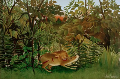 The Hungry Lion jumps on the antelope - Henri Rousseau