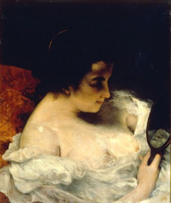 The Lady with mirror - Gustave Courbet