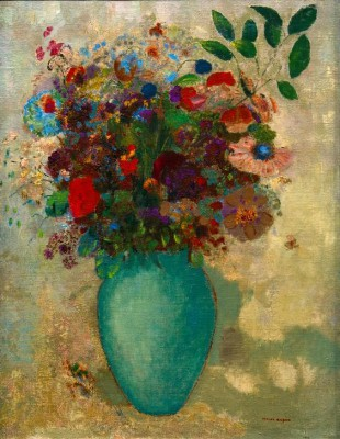 The large turquoise vase - Odilon Redon