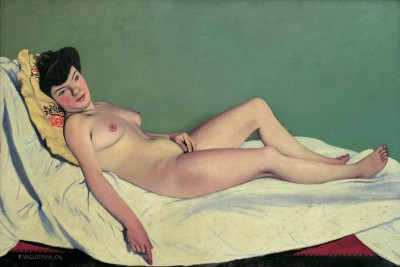 The lying nude on yellow pillow - Félix Vallotton