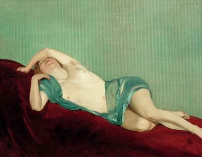 The lying nude with green silk scarf - Félix Vallotton