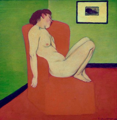 The naked woman sitting on an armchair - Félix Vallotton